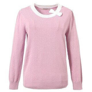 Richie House Little Girls Lilac Solid Color Bow Neckline Pullover Sweater 2-7