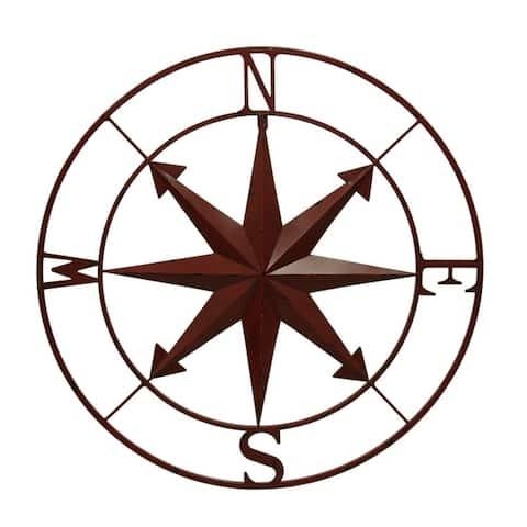 Distressed Metal Indoor/Outdoor Compass Rose Wall Hanging 28 Inch