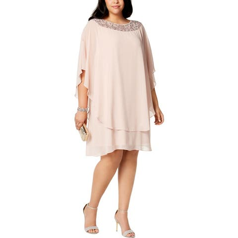 Xscape Womens Plus Special Occasion Dress Embellished Chiffon