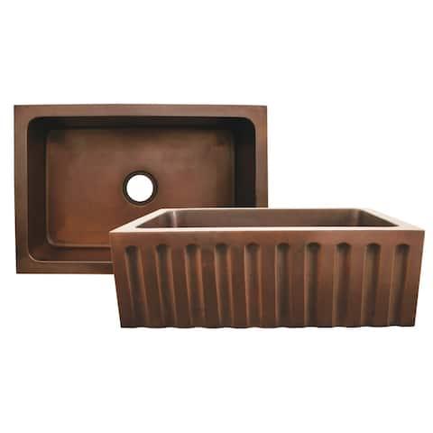 Whitehaus WH3020COFCFL Rectangular Undermount Sink with Fluted Design - Smooth Copper