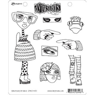 "Dyan Reaveley's Dylusions Cling Stamp Collections 8.5""X7""-Pondering Petunia"