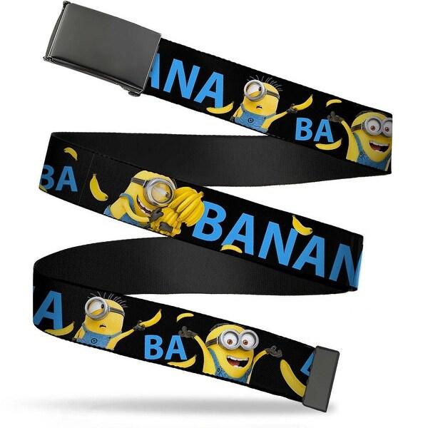 Blank Black Bo Buckle Minions Ba Ba Banana Black Blue Yellow Webbing Web Belt