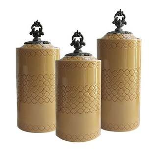 American Atelier Quadro Collection Ceramic Canisters Kitchen Food Storage, Set of Three