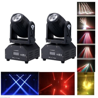 2x Mini Moving Head Beam Light RGBW LED Disco Party Show Spot Stage Lighting DMX