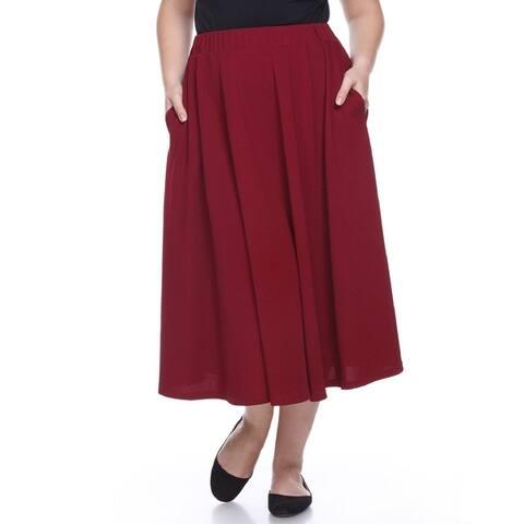 Plus Size Tasmin Flare Midi Skirt - Burgundy