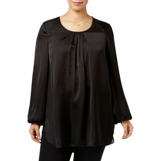 Seven7 Womens Plus Blouse Bishop Sleeves Pleated Neckline - 1x