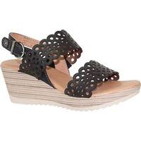 Dromedaris Women's Libby Quarter Strap Sandal Black Waxed Leather