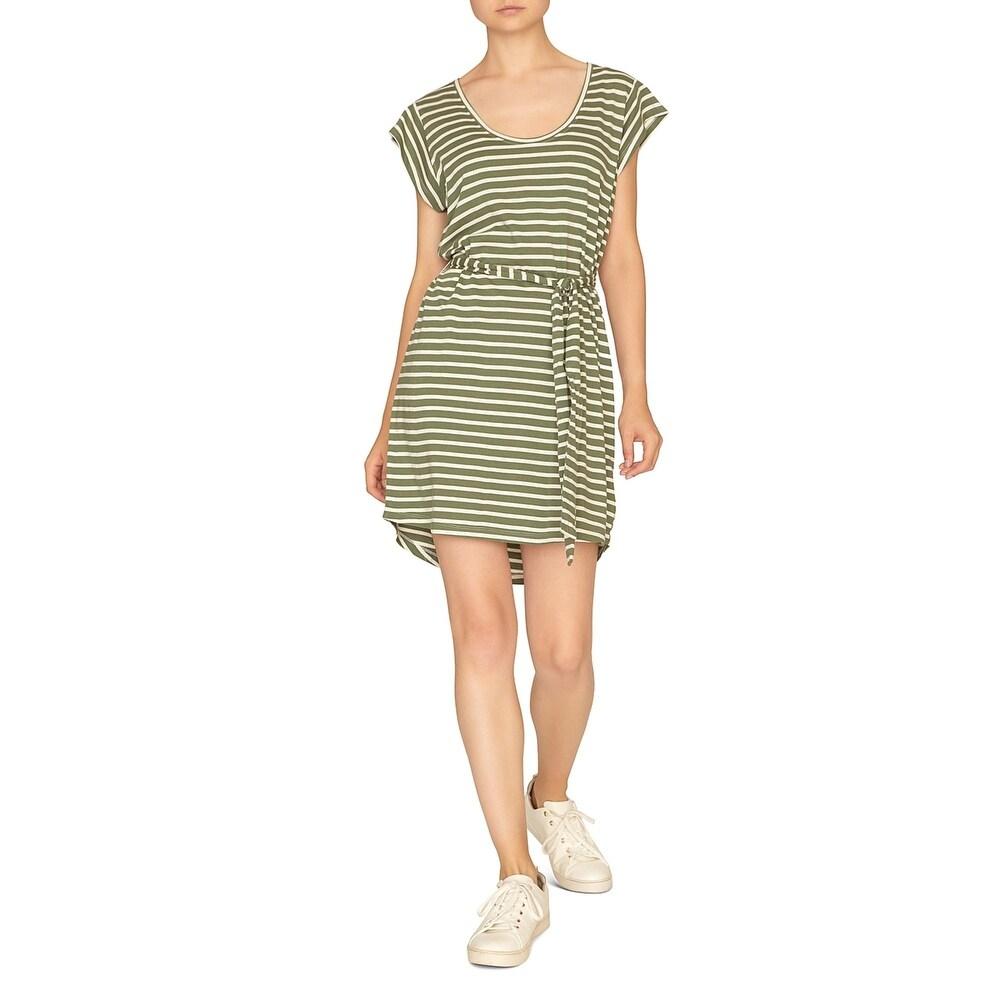 Sanctuary Womens Ruby T-Shirt Dress Stripe Flutter Sleeve
