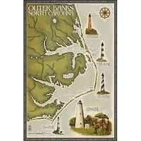 Outer Banks, NC Lighthouse & Town Map - LP Artwork (100% Cotton Towel Absorbent)