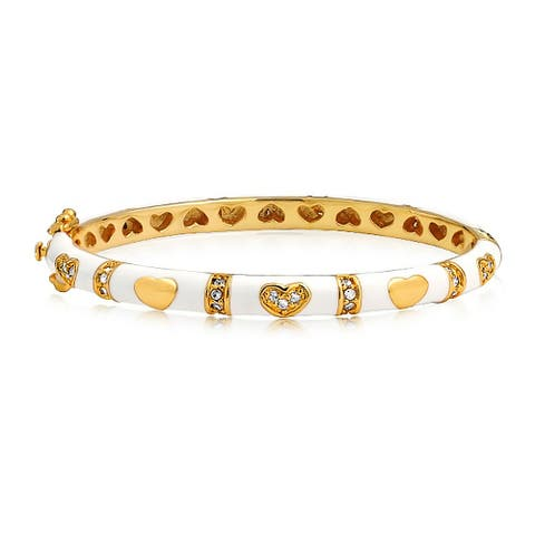 Tiny Bangle Bracelet White Enamel CZ Pave Hearts Gold Plated Brass for Small Wrists 5.5 Inches