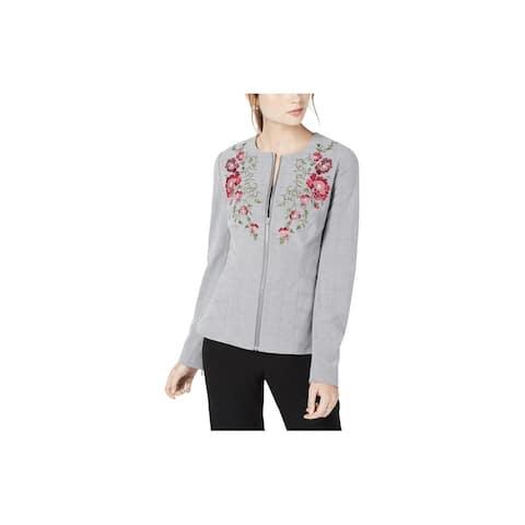 XOXO Womens Embroidered Blazer Jacket, Grey, X-Large