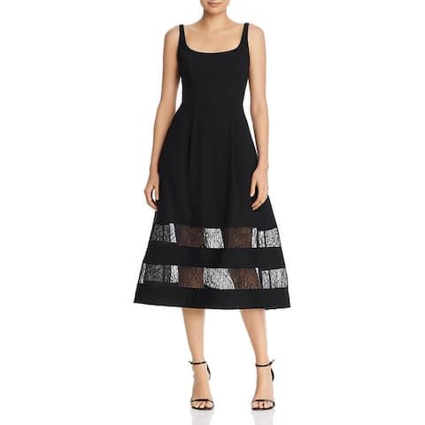 Aidan by Aidan Mattox Womens Party Dress Lace Inset Sleeveless - Black