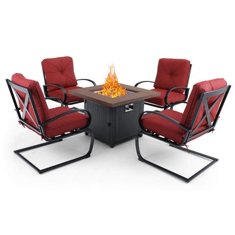 PHI VILLA Gas Fire Pit Table Set, 50000 BTU Auto-Ignition Propane Gas Fire Pit with 4 Spring Motion Cushion Chairs