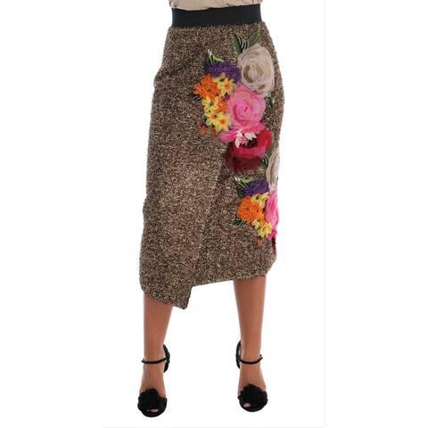 Dolce & Gabbana Gold Floral Silk Below Knee Shift Women's Skirt