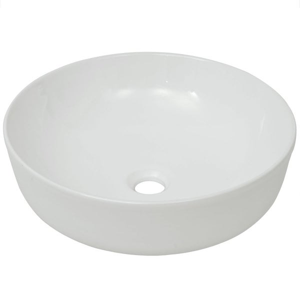 "vidaXL Basin Round Ceramic White 16.3""x5.3"""