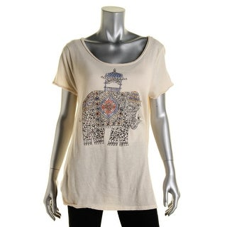 Lucky Lotus Womens Short Sleeve Cut Out Pullover Top