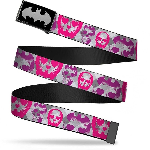 Batman Reverse Brushed Silver Cam Bat Signal Skulls Plaid Grays Web Belt