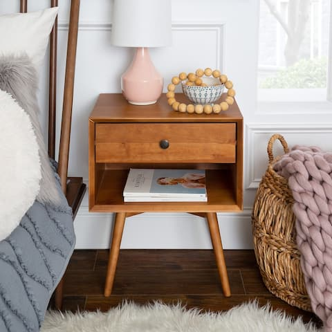 Mid-Century 1-Drawer, Open Shelf Nightstand
