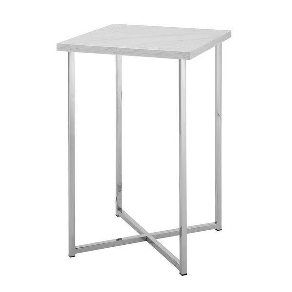"""Offex 16"""" Square Side Table with White Marble Top and Chrome Legs"""