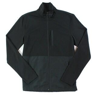 Alfani NEW Deep Men's Black Size Large L Mock Neck Full Zip Jacket