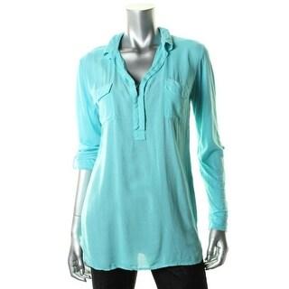 Splendid Womens Tunic Top Collar 3/4 Sleeves - l