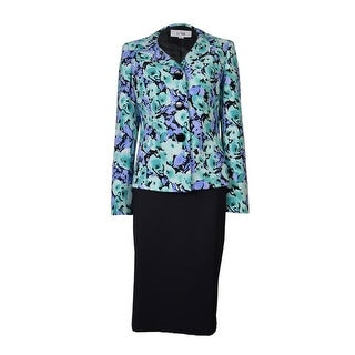 Le Suit Women's Water Lilies Floral Pattern Skirt Suit - viola multi/black (2 options available)