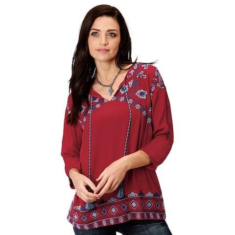 Roper Western Shirt Womens 3/4 Sleeve Peasant Red