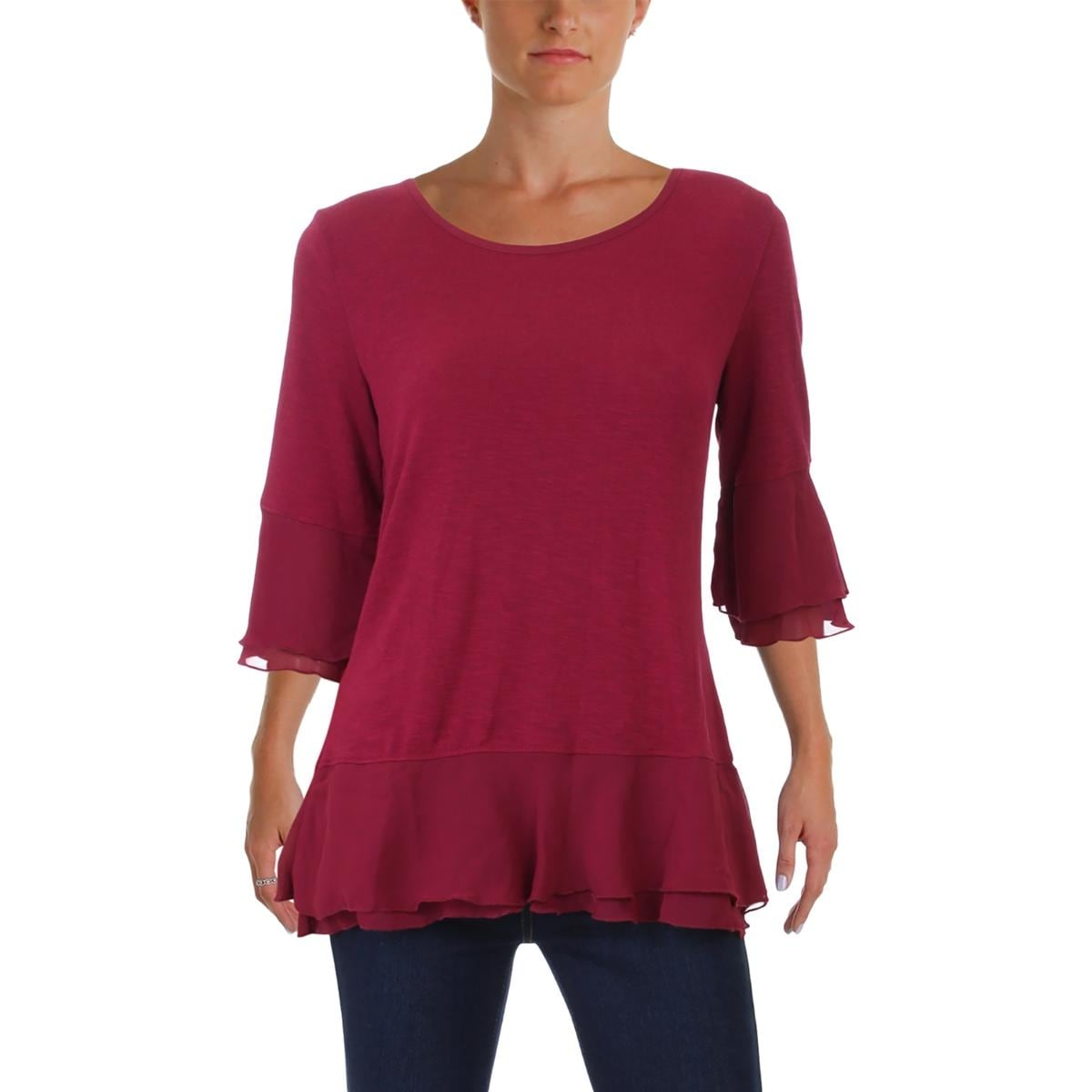 64dcd1321c5 Shop Foxcroft NYC Womens Nancy Blouse Mixed Media Bell Sleeves - Free  Shipping On Orders Over $45 - Overstock - 24153071