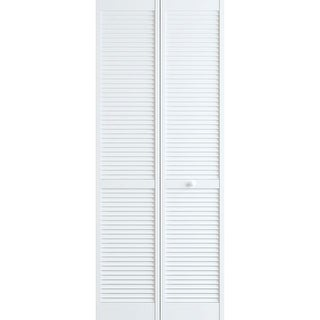 "Frameport CLS-BI-NL-6-2/3X2-2/3-H  Classic 32"" by 80"" Louver/Louver Interior Bifold Door with Installation Hardware"
