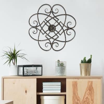 ADECO Metal Flower Wall Decor Black Scrolled Flower Living Room Art