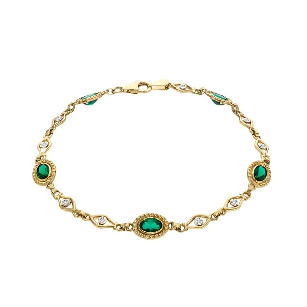 3 3/4 ct Emerald and 1/10 ct Diamond Bracelet in 10K Gold - Green