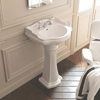 "WS Bath Collections 1047 1070 28-3/4"" Ceramic Pedestal Bathroom Sink with 1 or 3"