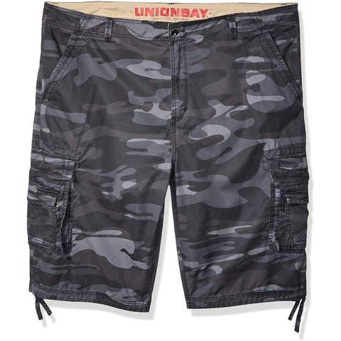Unionbay Mens Shorts Gray Size 40 Camouflage-Print Messenger Cargo