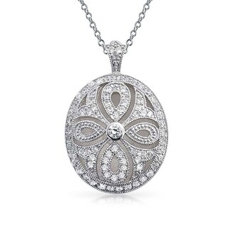 Bling Jewelry Oval Vintage Style Teardrop CZ Locket Pendant Rhodium Plated