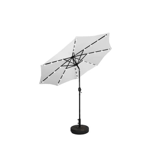 9' Solar Lighted Patio Umbrella with Bronze Base