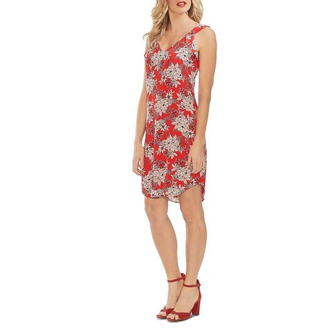 Vince Camuto Womens Casual Dress Sleeveless Floral - Crimson Red