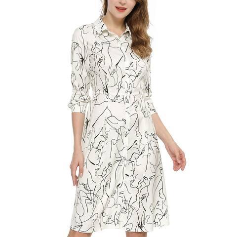 Women's Business Casual Work Printed A-line Midi Shirt Dress