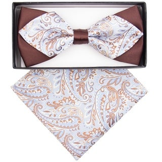 Men's Brown And Sky Blue Paisley Diamond Tip Bow Tie With Matching Hanky - regular