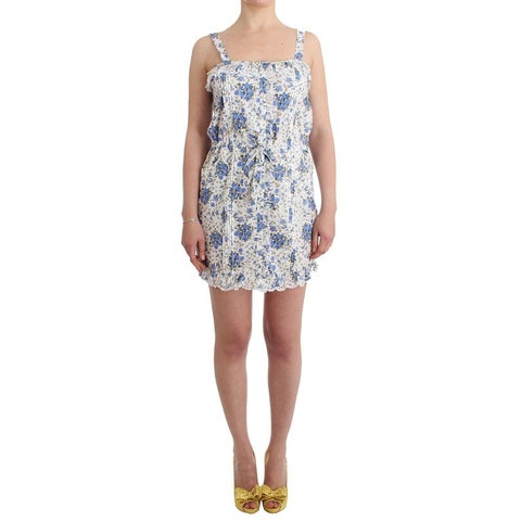Ermanno Scervino Ermanno Scervino Beachwear Blue Floral Beach Mini Dress Short - it46