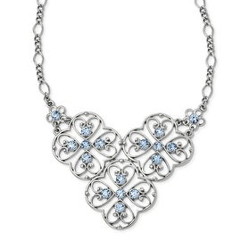 Silvertone Blue Crystal Bib Necklace - 16in