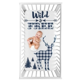 Navy Woodland Deer Boy Photo Op Fitted Crib Sheet - Blue and White Buffalo Plaid Check Rustic Country Farmhouse Lumberjack