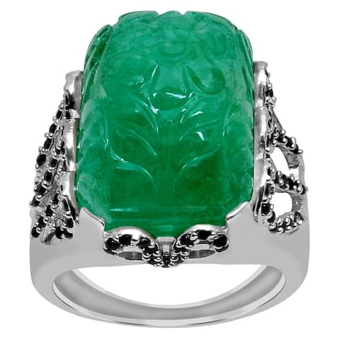 Emerald, Spinel Sterling Silver Octagon Engagement Ring By Orchid Jewelry