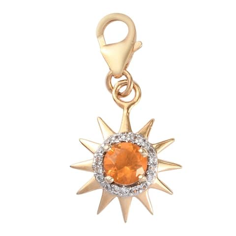 Vermeil Yellow Gold Over 925 Silver Fire Opal Zircon Charm Ct 0.5