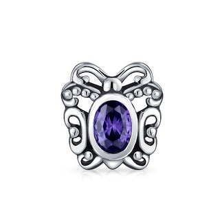 Bling Jewelry Oval Purple CZ Bezel Butterfly Bead Charm Animal 925 Silver