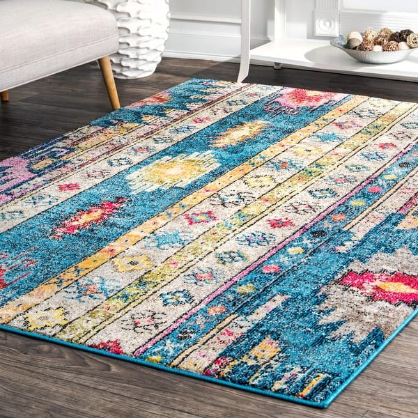 Nuloom Blue Bohemian Tribal Festival Summer Day Faded Border Area Rug Overstock 22282750 8 X 10 Blue