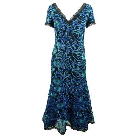 JS Collections Women's Embroidered Lace-Trim Midi Dress - Sea Green
