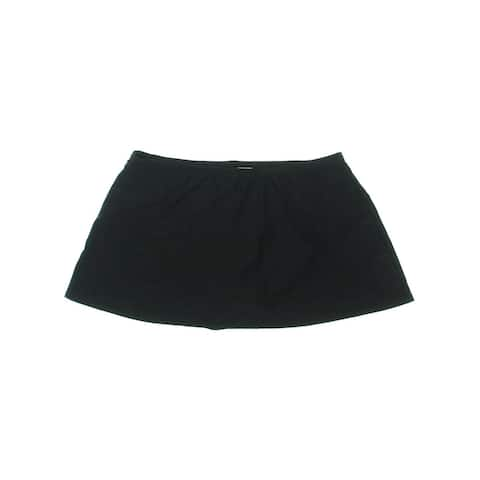 Island Escape Womens Plus Skirt Fold Over Swim Bottom Separates - Black