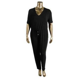 Vince Camuto Womens Eclipse Solid Short Sleeves Jumpsuit