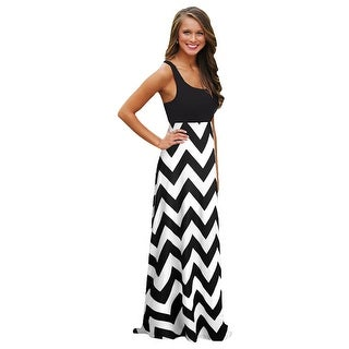 CHEVRON PATTERN Womens Casual Summer Sleeveless Long Maxi Beach Sundress