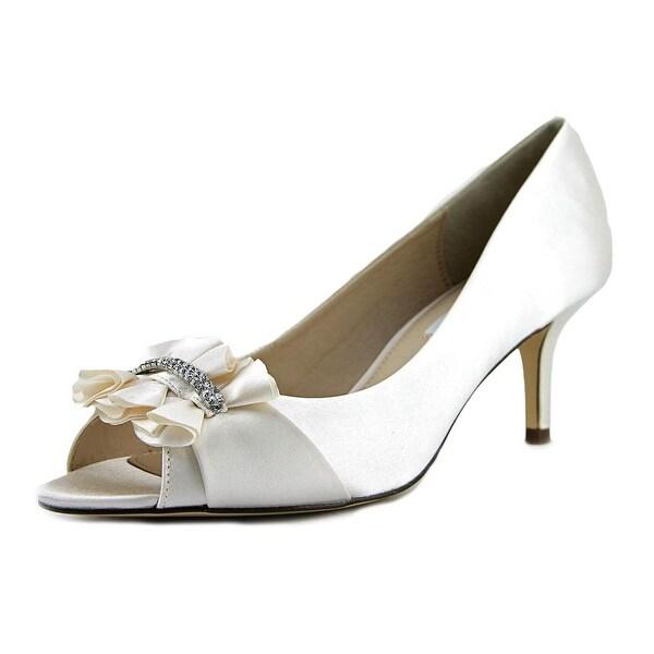 Nina Carinne Women Peep-Toe Canvas Ivory Heels